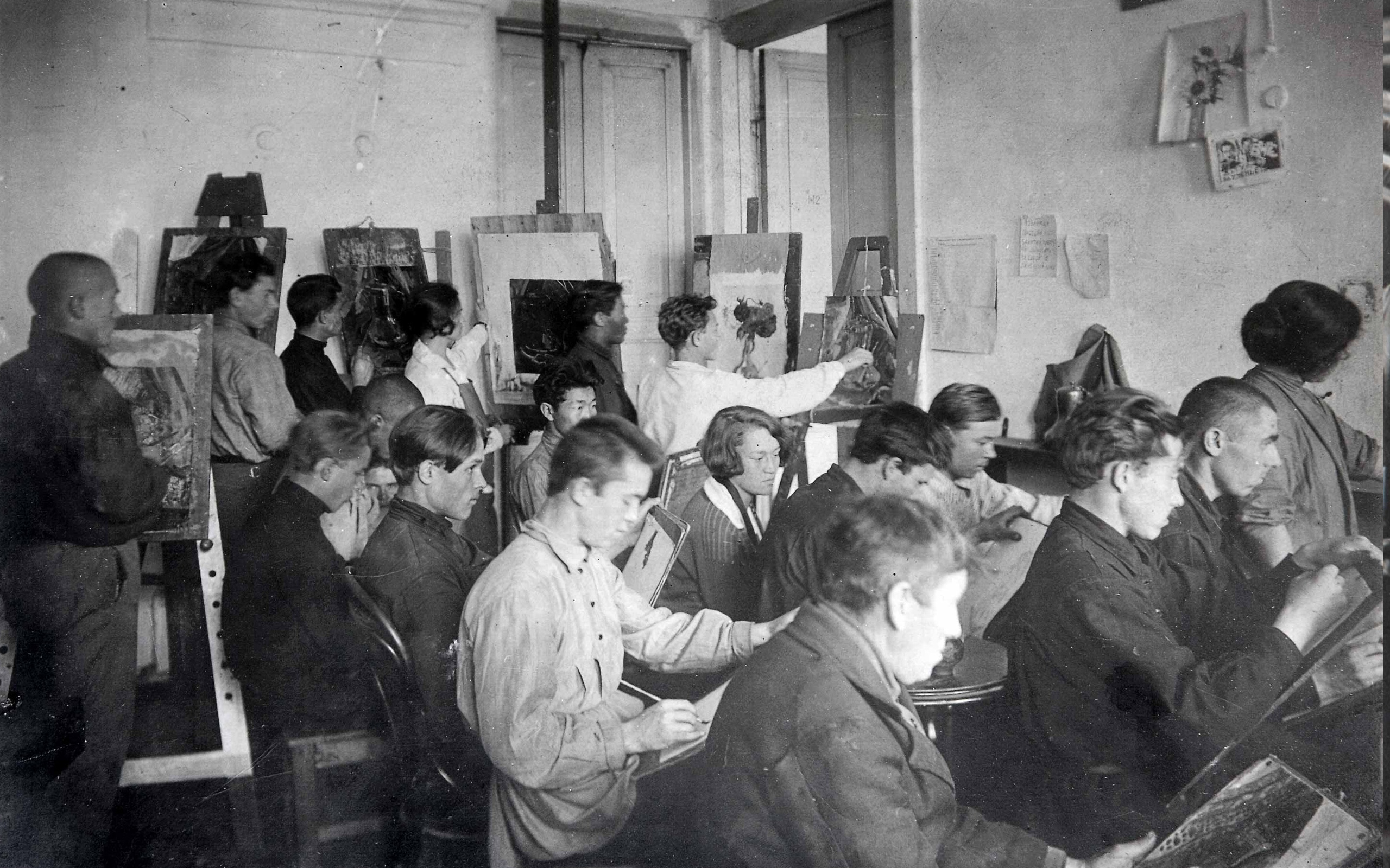 1927 год. Занятия по живописи в мастерской-студии И.Л. Копылова